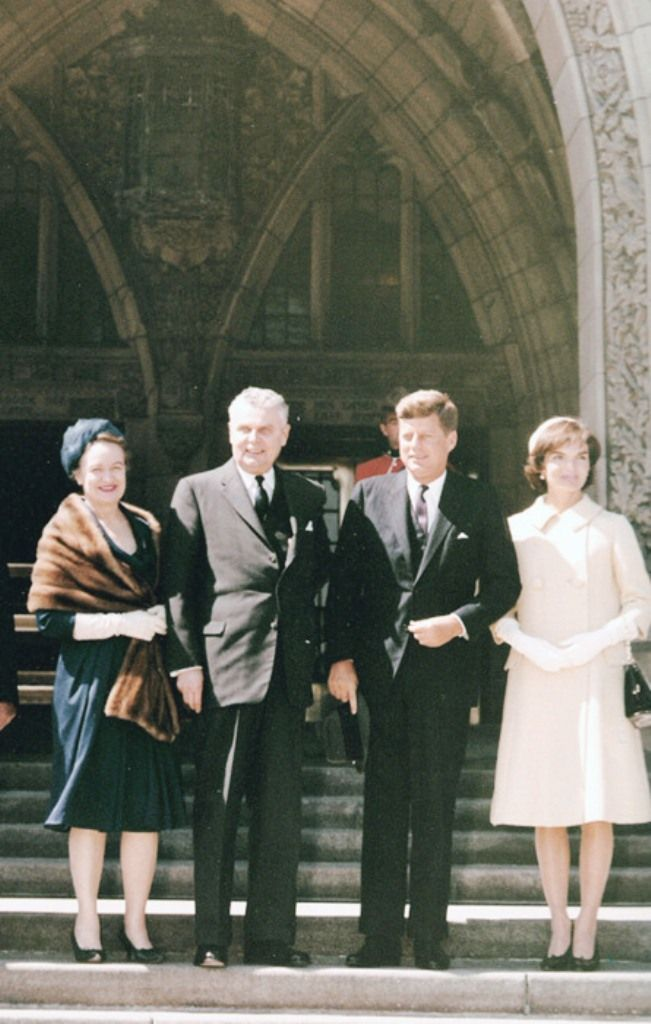 Prime Minister John and Olive Diefenbaker with President John F. and Jackie Kennedy on Parliament Hill ~ 17 May 1961❤❤❤❤❤❤❤    http://en.wikipedia.org/wiki/John_F._Kennedy  http://en.wikipedia.org/wiki/Jacqueline_Kennedy_Onassis