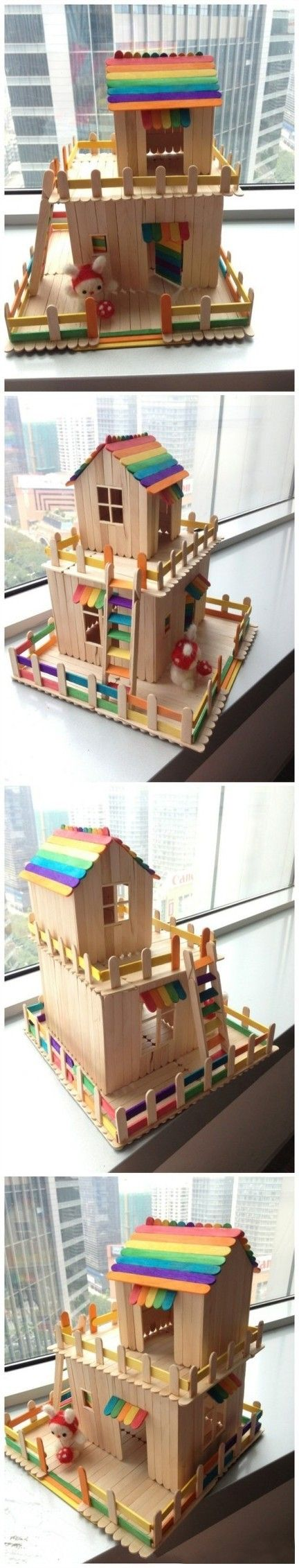 Popsicle stick house.  Instructions in Japanese . :-( - make bigger so for a rabbit.