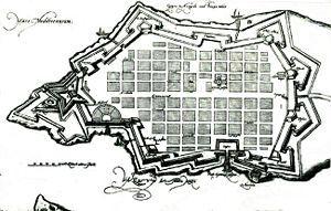 Sitio de Malta (1565) - Reproducción del mapa de La Valeta de D. Specle (1589). Destaca San Elmo, con forma de estrella y la ordenación en cuadrícula de las calles.