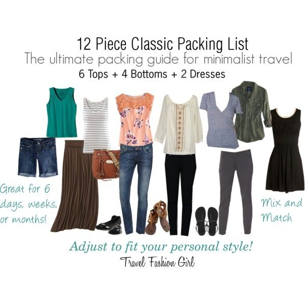 """12 Piece Classic Packing List"" by travelfashiongirl on Polyvore"