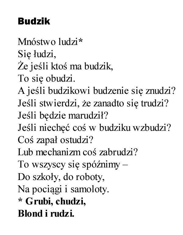 """""""Budzik""""  Michał Rusinek"""