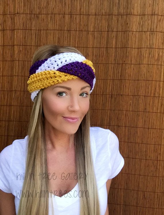 White + Purple + Gold Mustard Minnesota Headband || Braid Head Wrap Hair Accessory Band Earwarmer Fall Fashion Girl Woman Unisex Boy Men   – häkeln