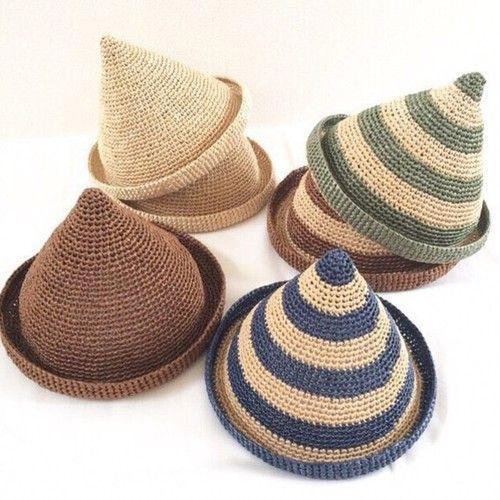 【受注生産】小人さんのとんがり帽子△麦わら帽子(ナチュラル)