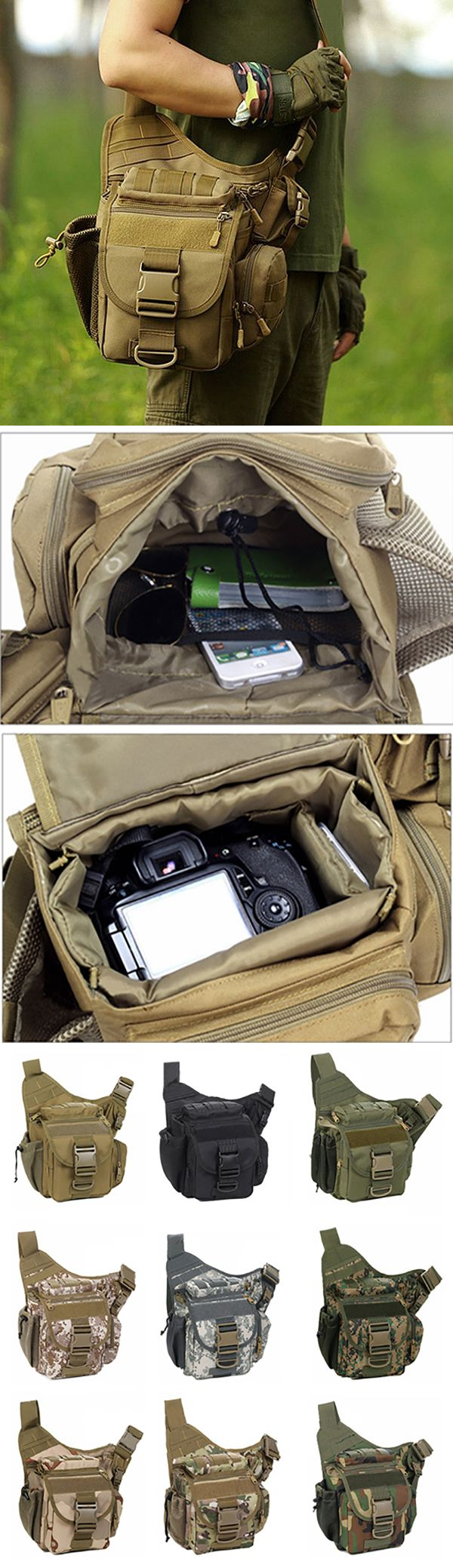 Men Outfit: Outdoor Multi-functional Crossbody Bag / Waterproof Nylon Camera Bag  / Tactical Package