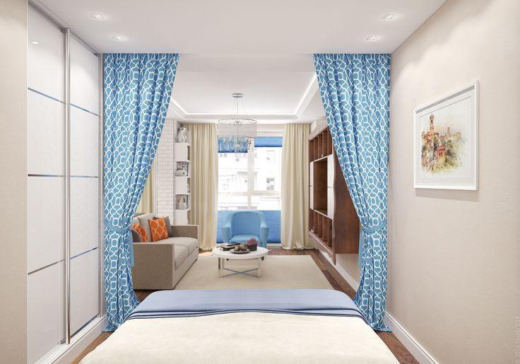 Встроенный шкаф-купе для одежды и два стеллажа с зеркальными дверцами - места для хранения в спальне.