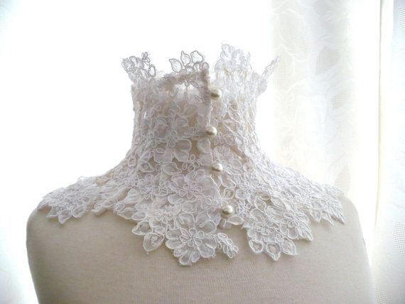 LACE NECK COLLAR last piece alencon lace by KarybdisAtelier, €40.00
