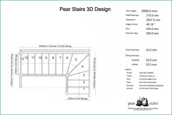 Marley Lane Staircase - 3D staircase design (floor plan).