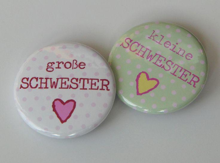 """1 Button: """"große oder kleine Schwester"""" von freiesleben auf DaWanda.com"""