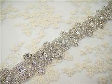 prachtige applique bruids strass kristal motief naaien op rand bruiloft applique bruiloft accessoires diy zilveren voet(China (Mainland))