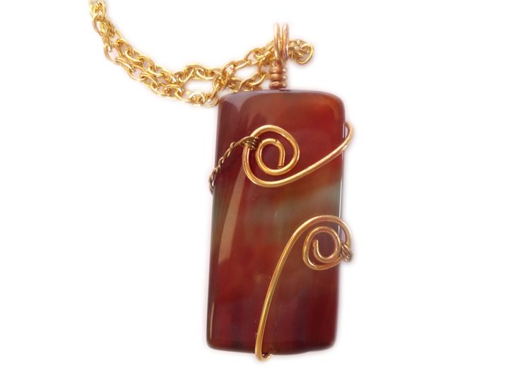 wire stone necklace pendant boho necklace agate wire wrapped,  brown gemstone pendant, Stone necklace, gift wrapped by LaLunafantasyjewelry on Etsy https://www.etsy.com/listing/252915882/wire-stone-necklace-pendant-boho