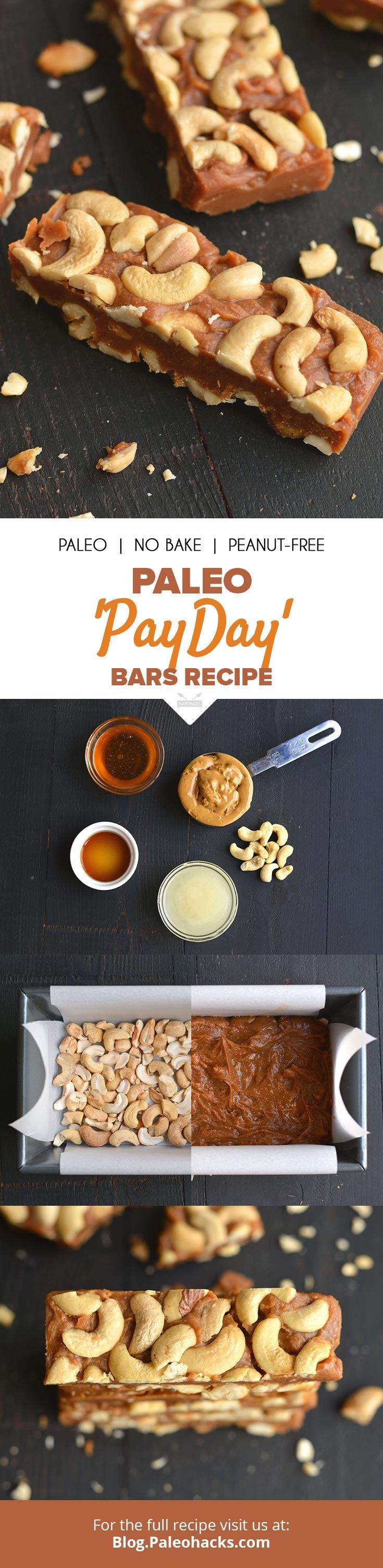 "Nutty Paleo ""Payday"" Bars are made with cashews and creamy nut butter for a salty, chewy treat. Get the full recipe here: http://paleo.co/PaydayBars"