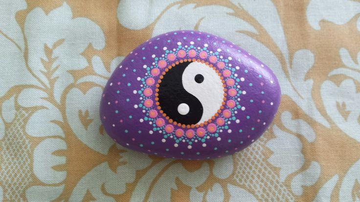 Jin-Jang hand painted stone dots mandala