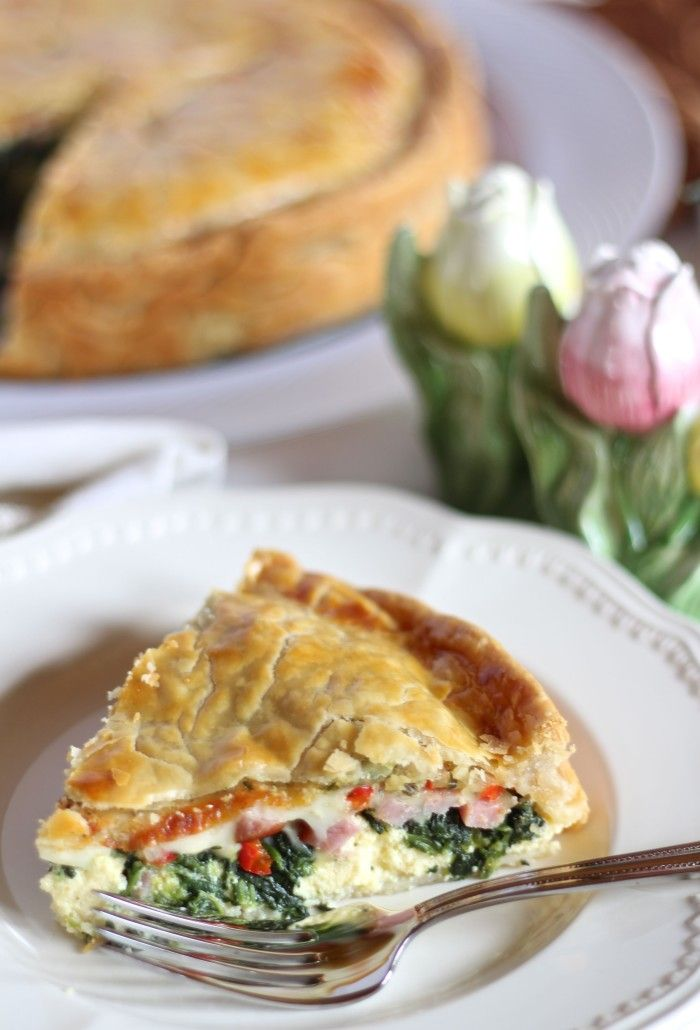 Savory Easter Pie - Ricotta, Mozzarella, Ham. Spinach, Roasted Peppers, Basil