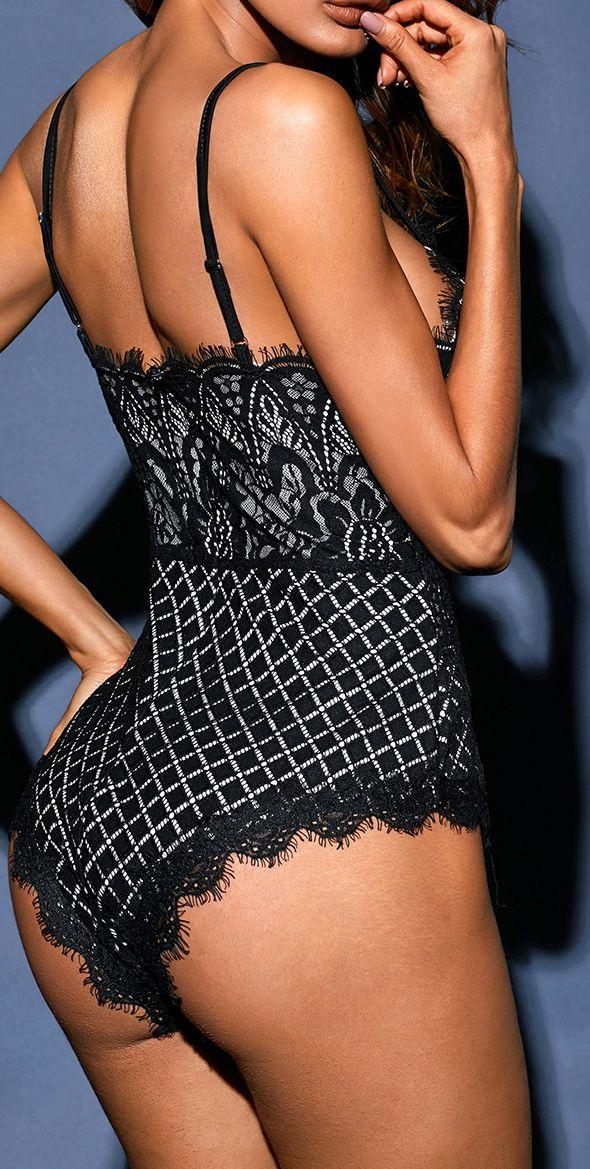 Black Lined Lace Bodysuit #bodysuit #lingerie #sexy #suits
