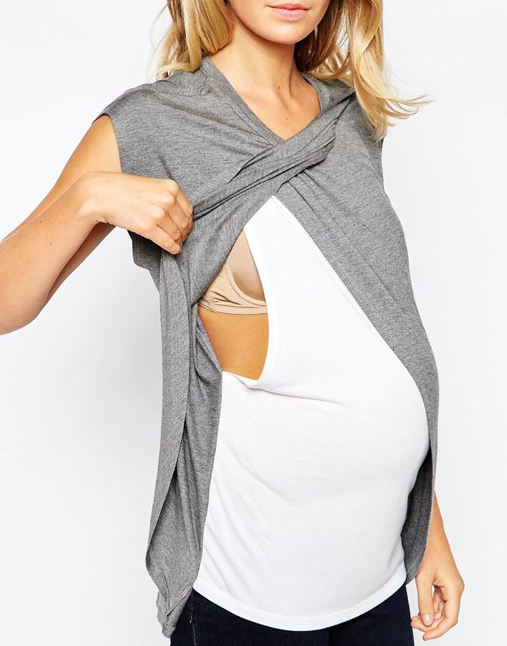 Image 3 of ASOS Maternity NURSING T-Shirt With Wrap Overlay