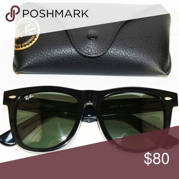 NWOT classic black Ray Ban Wayfarer RB2140 54mm New without tags classic black Wayfarer Ray Ban sunglasses. RB2140 size 54mm with G-15 lenses. $80 price is firm. Not interested in trades at this time.  Sunglasses will be shipped out same day if order is placed before 8 PM (PST). If order placed after this time it will be shipped out the following day. Ray-Ban Accessories Sunglasses