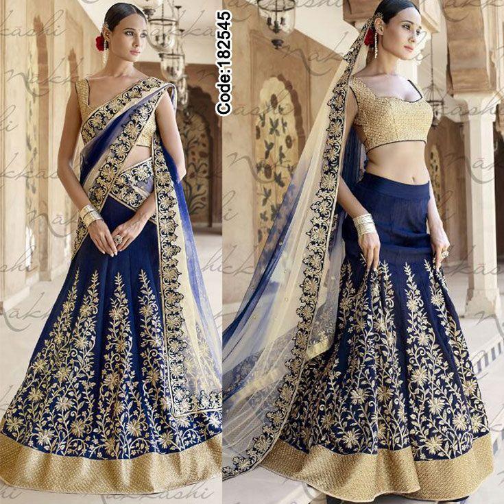 Make your functions memorable with this splendid blue #lehengacholi!!  #FloralMotif #Volume #Layers #Embroidery #Designer #Occasion #IndianDresses #Partywears #Indian #Women #Bridalwear #Fashion #Fashionista #OnlineShopping #Lehenga #MirrorWork #Beige #Blue #RoyalBlue #BorderWork