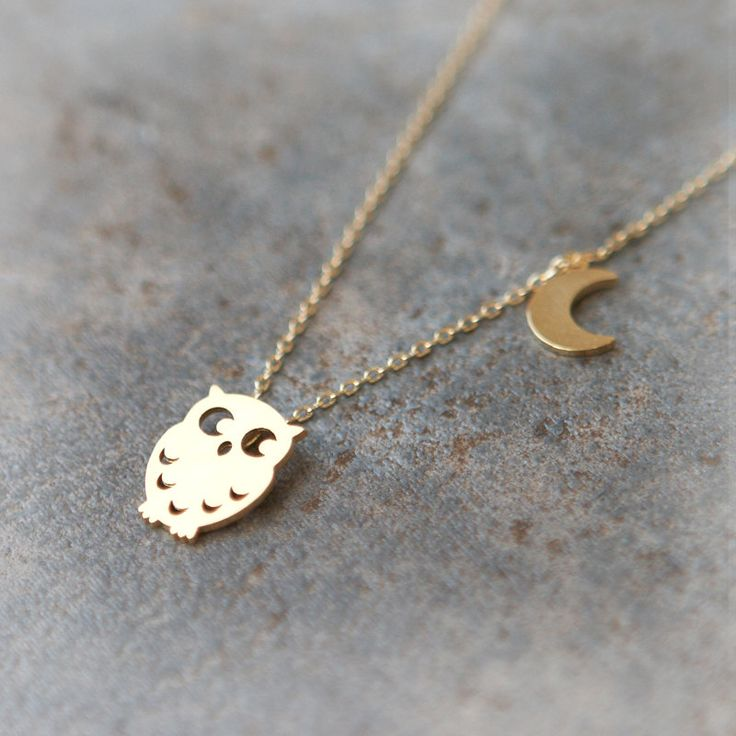 Owl and Moon Necklace in gold. $16.00, via Etsy.