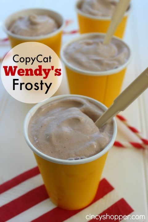 CopyCat Wendy's Frosty Recipe - 1/3 cup milk, 5 tsp. Nesquik powder, and 2 cups of vanilla ice cream