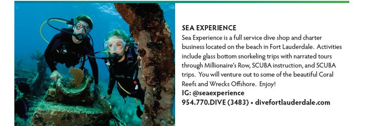 Sea Experience is a full service dive shop and charter business located on the beach in Fort Lauderdale. Activities include glass bottom snorkeling trips with narrated tours through Millionaire's Row, SCUBA instruction, and SCUBA trips. You will venture o