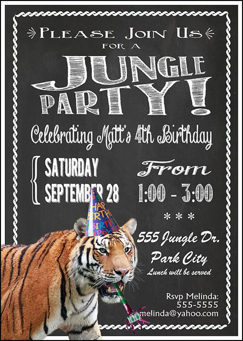15 best landons first birthday images on pinterest birthday party tiger zoo party invitation print at home 5x7 stopboris Choice Image