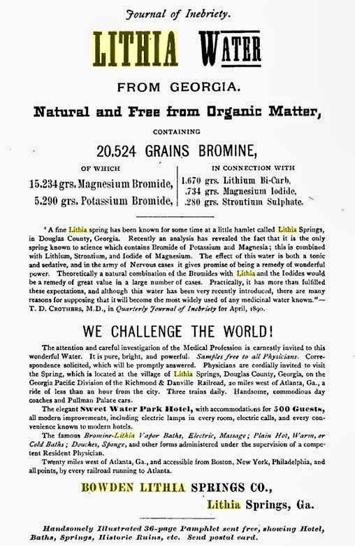 1893 Magazine Advertisement published in NY City where Bowden Lithia Water Co. had an office. It was New Yorks most prized natural mineral health. Shipped all the way by rail from Atlanta to New York City.