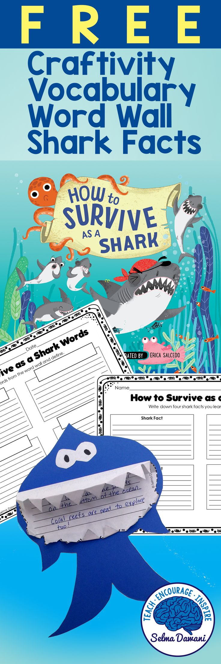 Shark Week Activities for kids - shark vocabulary, shark facts, shark craftivity. Goes great with the book How to Survive as a Shark