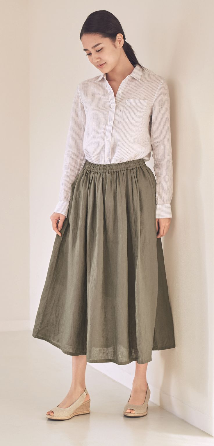 Naturally cool. | Linen is one of the best natural materials for staying cool. Linen with natural slubs for a shirt and skirt that keep you cool and comfortable. | MUJI French Linen Pre-Washed Shirt & MUJI French Linen Maxi Skirt