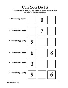 Number Tiles: Divisibility Rules