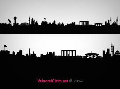 Vektörel Çizim | Tasarımlarınız İçin Vektörel Şehir Silüetleri