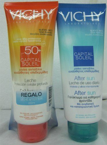 Vichy Capital Soleil Spf 50+ Milk Family Size:300 Ml + Vichy Aftersun 300 Ml. by Vichy Capital Soleil SPF 50+ Milk Family Size:300 ml + Vichy Aftersun 300 ml.. $22.95. Vichy Capital Soleil SPF50+ Milk:. All skin types.Protects against sunburn.Premature aging and pigmentation irregularities.. Vichy Capital Soleil After Sun:For all skin types. Vichy Capital Soleil SPF50+ Milk Family Skin Type: All skin types, even sensitive.  Action: Mexoryl. Protects against su...
