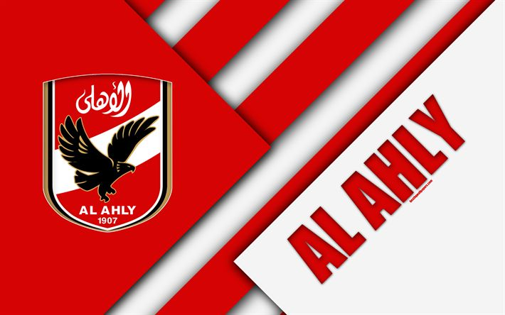 Download wallpapers Al Ahly SC, Egyptian football club, 4k, logo, material design, red white abstraction, Cairo, Egypt, football, Etisalat Egyptian Premier League