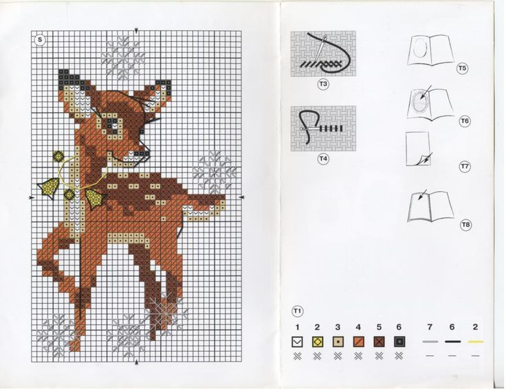 Deer Card • Chart and colour key – This deer looks lovely stitched on a heart