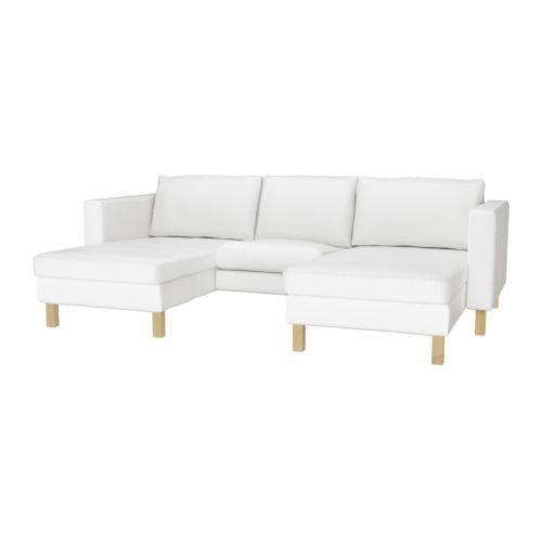 IKEA - KARLSTAD, 2 divaania + lepotuoli, , Laaja valikoima yhteensopivia päällisiä helpottaa huonekalujen ilmeen uudistamista.Helppo pitää puhtaana konepestävän irtopäällisen ansiosta.Divaanin selkänoja on säädettävä. Valittavana yksi istuma-asento ja kaksi lepoasentoa.Istuintyynyjen kylmävaahtomuovitäyte ja polyesterikuitupehmuste takaavat hyvän istumamukavuuden.