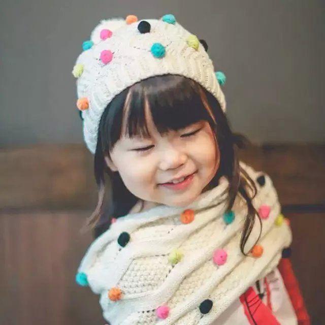 Niños gorros Otoño invierno de algodón de Color Beige de punto sombrero bufanda bola de Color niñas sombrero de la bufanda Al Por Mayor y al por menor 1 Unidades 2016