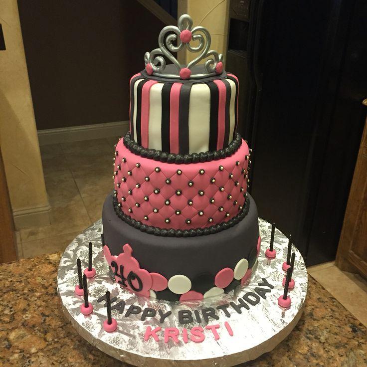 40th Birthday Party Cake. Birthday Cake With Pink, Black