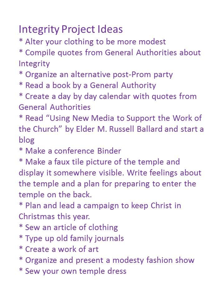 personal progress integrity project ideas. Sewing your own clothing and a modesty fashion show.