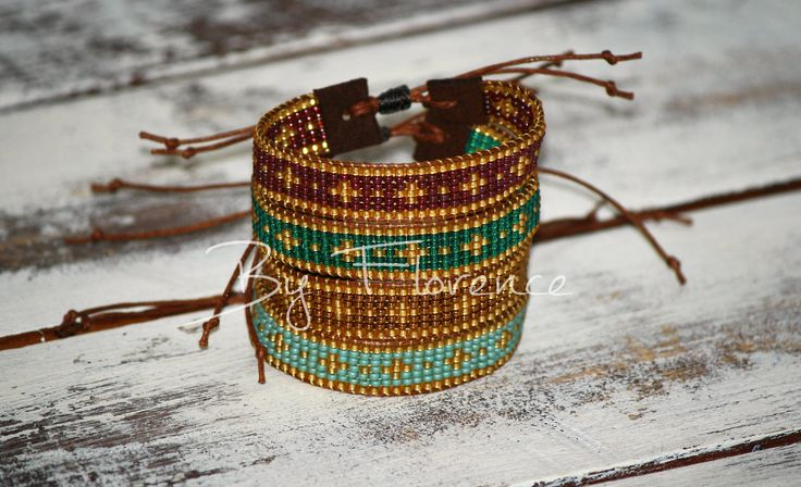 Bracelet. Autumn Power in gold with bronze / teal / cranberry purple or seagreen. Herfst armbandjes. Kleuren: goud icm brons/cranberry paars/ teal blauwgroen of zeegroen. Rocailles.  €12,95 ps.  By Florence - https://www.facebook.com/byFlorence