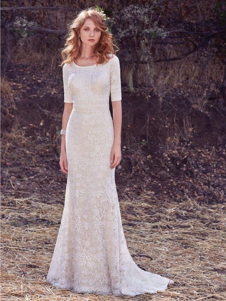 Modest Wedding Dress With Scoop Neckline 3 4 Lace Sleeves And All Over Crochet