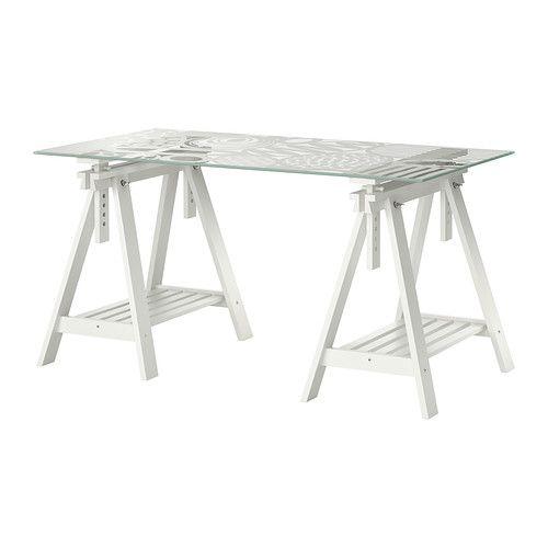 IKEA - GLASHOLM / FINNVARD, Bord, , Bordsskivan i härdat glas är fläcktålig och lätt att rengöra.Det finns massor av plats på hyllan under benbockarna för exempelvis skrivare, böcker och papper. På det sättet håller du bordsskivan ren och får mer utrymme för att arbeta.
