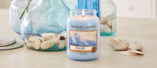 """Yankee candle Sea Air  Yankee Candle dice: """" L'aria rinfrescante intrisa di sale marino, ciclamino e rosa.""""  NOTE DI TESTA: Acqua di mare, brezza salata di oceano NOTE DI CUORE: Ciclamino Bianco, Rosa, Fiore di spiaggia NOTE DI FONDO: Sandalo Voto 7"""