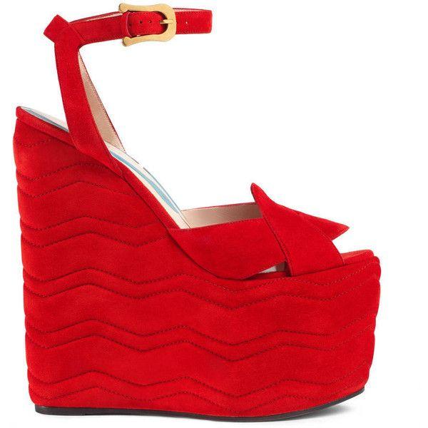 Gucci Suede Platform Sandal featuring polyvore, women's fashion, shoes, sandals, women, ankle strap platform sandals, red shoes, high heel sandals, gucci shoes and red suede sandals