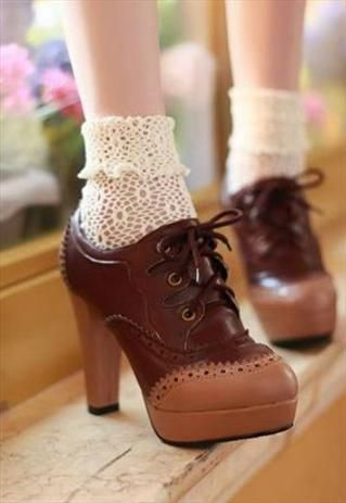 Maxima High Heel Shoes from sniksa. Love those lace socks!