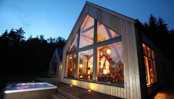 Knoydart House, a self-catering in Knoydart, Scotland.  Infinitely beautiful: vast windows, hot tub'd deck, romantic beds. Take friends, climb mountains, explore wilderness, spy the Isle of Skye. http://www.sawdays.co.uk/self-catering/britain/scotland/highland/knoydart-house