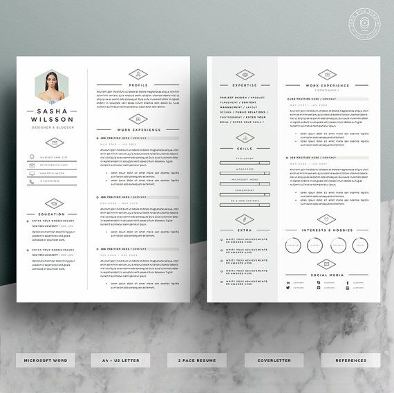 5 page resume template    cv template pack   cover letter for word   icon pack
