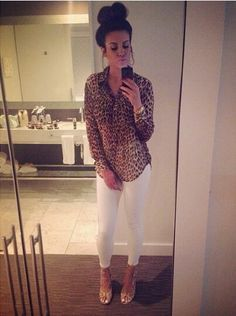 nicole guerriero leopard top outfit - Google Search