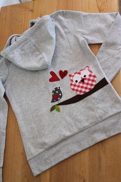 Hoodies - Damen-Kapuzensweatshirt' Karo-Eule', nur Gr.L - ein Designerstück von milla-louise bei DaWanda
