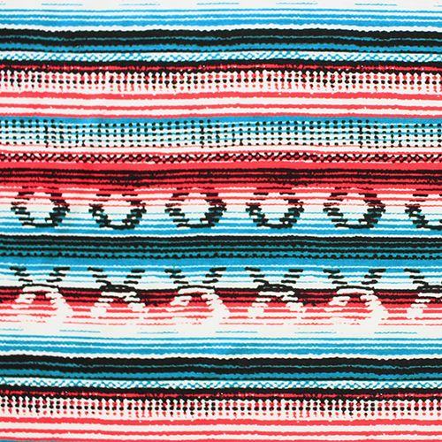 "Red Turquoise Blue Navajo Blanket Cotton Spandex Blend Knit Fabric - Beautiful Navajo blanket inspired design in red and turquoise blue and black on a white, soft cotton spandex rayon blend knit. Fabric has a soft hand, good 4 way stretch, nice drape, and is light to mid weight. Diamond measures 3/4"", repeat measures 5 1/4"" (see image for scale).  ::  $6.50"