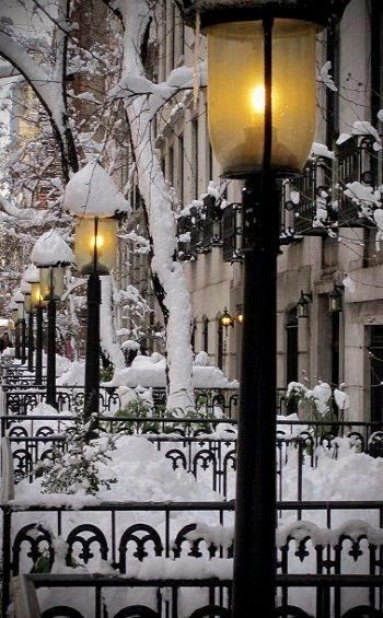 Snow Lanterns, West Village, New York City