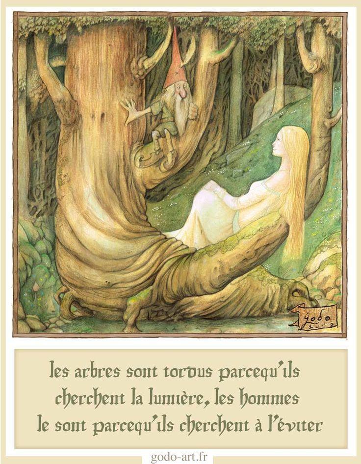 illustration petit peuple et grande sagesse. clé numéro quatre, fée les arbres tordus et la lumière. godo art illustration